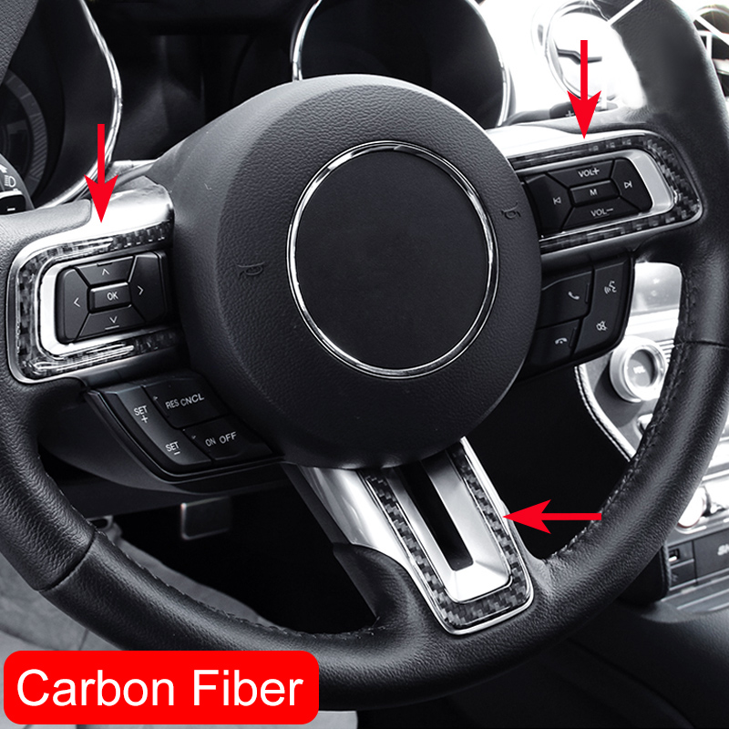 Genuine carbon fiber steering wheel strips for ford mustang 2015 2018 interior accessories for Carbon fiber mustang interior parts
