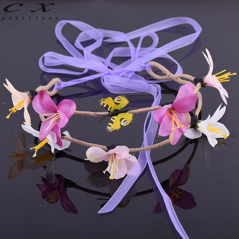 CXADDITIONS Bridal Floral Crown Hair Wreath Colorful Butterfly Wrap Greenish Lily Flower Woodland Hairpiece Natural Wedding