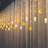 Battery 3.5M or 5M led curtain light AC220V Halloween decoration Pumpkin/Skull/ Fairy light for Party,Bakcdrops,patio
