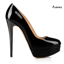 Aiyoway 2019 New Women Shoes Round Toe High Heels Pumps Platform Autumn Spring Clubwear Party Slip On Black Nude
