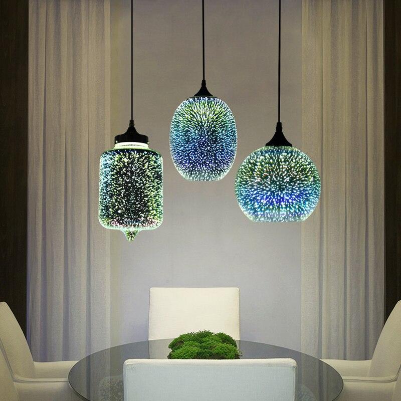 Modern 3D renkli İskandinav yıldızlı gökyüzü asılı cam gölge kolye lamba ışıkları E27 mutfak için LED restoran oturma odası