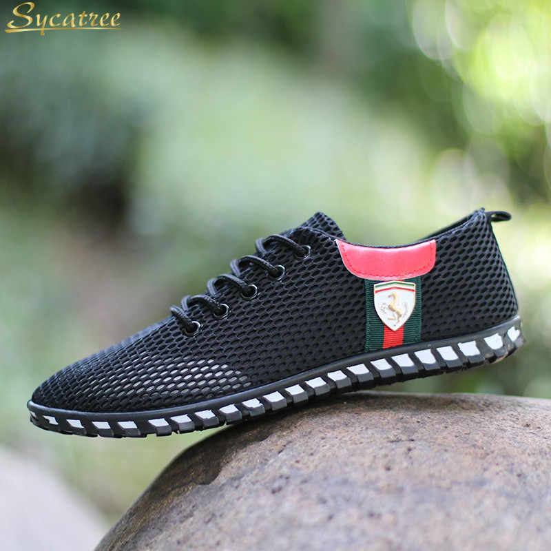 8a97f7f8603 Sycatree Summer Male Casual Shoes For Men Ferrari Canvas Shoes Outdoor  Sneakers Air Mesh Brand Breathable
