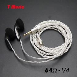 2018 새로운 V4 귀 이어폰 64 옴 버드 플랫 헤드 플러그 귀마개 DIY 하이파이 헤드셋