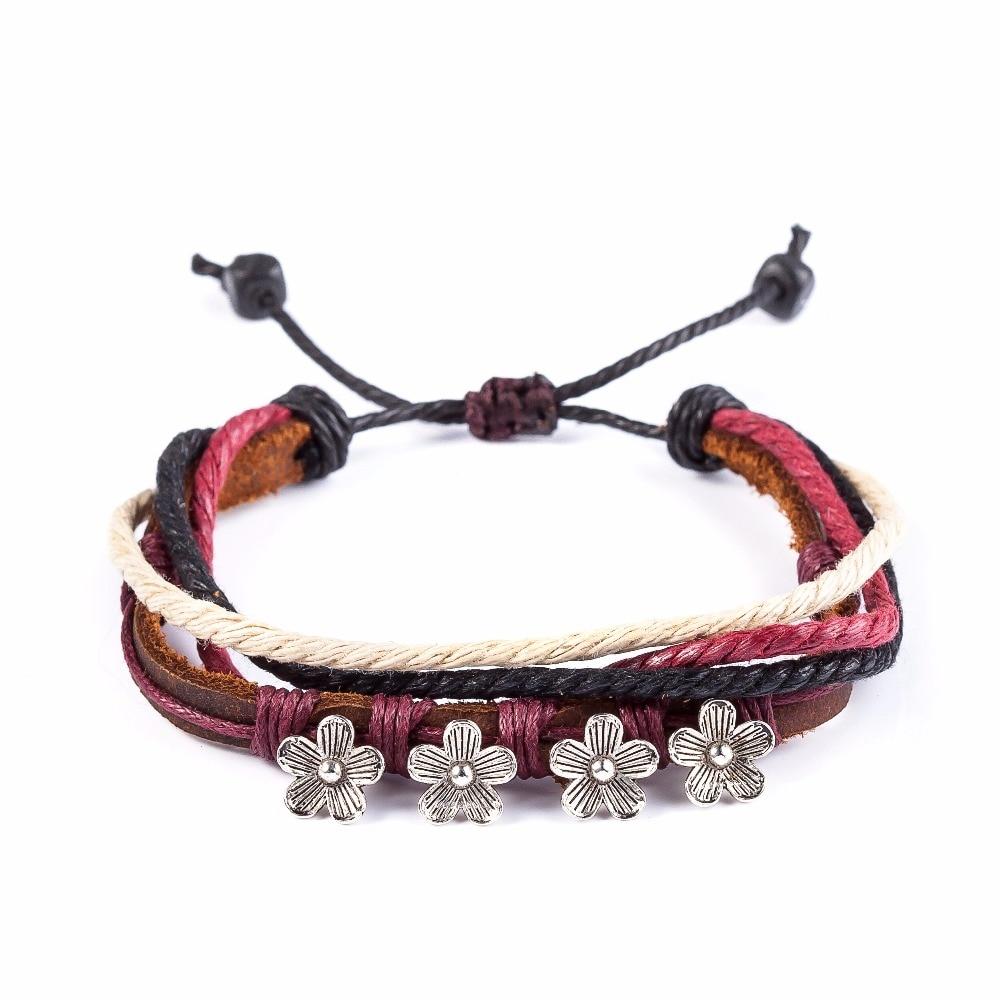 2017 Genuine Leather Bracelet Women,snaps Jewelry Adjustable Love Bracelets  & Bangles,flower Multlayer Cuff Bracelet For Women