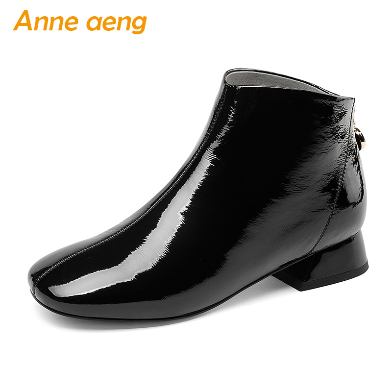 2018 New Autumn/Winter Genuine Leather Women Ankle Boots Middle Heels Square Toe Zip Sexy Ladies Snow Boots Black Women Shoes mantra спот mantra ibiza 5257