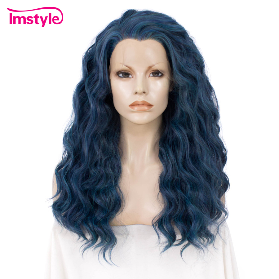Imstyle Multi Blue Wig Curly Wigs Synthetic Front Lace Wigs For Women Heat Resistant Fiber Lace Glueless 24 Inch Cosplay Wig