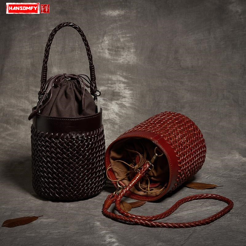 First layer cowhide hand-woven Women bucket messenger bag fashion female handbags genuine leather retro ladies shoulder bags women new handbags retro genuine leather handbag shoulder bag head layer cowhide messenger bags female pure hand made bags