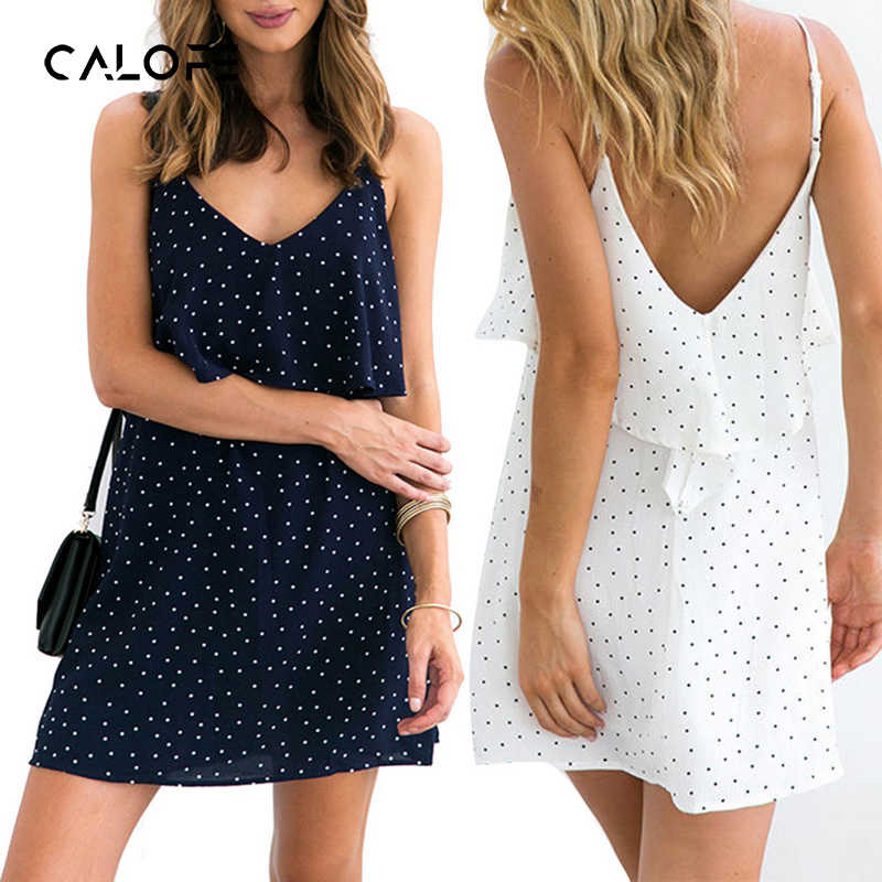 ac44ccba9eee CALOFE с принтом в горошек сарафан 2019 Boho платья для женщин Повседневное  Vestidos Белый рюшами Мини