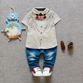New Baby Boys Girls Cartoon Suit Short-sleeved T-shirt +jeans Sets Cotton Children Kids Sets 0-2 Years Clothing Set Brand Baby