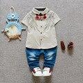 Nuevo Bebé Niños Niñas de Dibujos Animados Traje de manga corta T-shirt + jeans Conjuntos de Algodón Niños Establece 0-2 años de la Marca de la Ropa Del Bebé