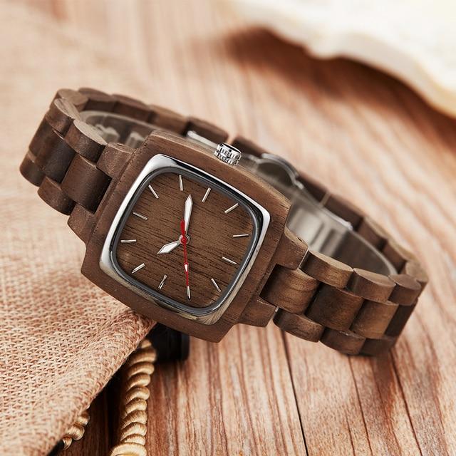 Wooden Couple Watch Men Women Lover Gift Wrist Watches Male Female Brown Walnut Wood Square Dial Quartz Wristwatch Reloj Clock 1