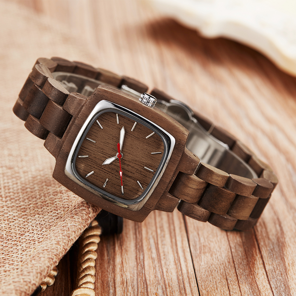 Image 2 - Wooden Couple Watch Men Women Lover Gift Wrist Watches Male Female Brown Walnut Wood Square Dial Quartz Wristwatch Reloj Clock-in Lover's Watches from Watches