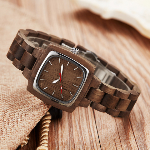 Wooden Couple Watch Men Women Lover Gift Wrist Watches Male Female Brown Walnut Wood Square Dial Quartz Wristwatch Reloj Clock Lahore