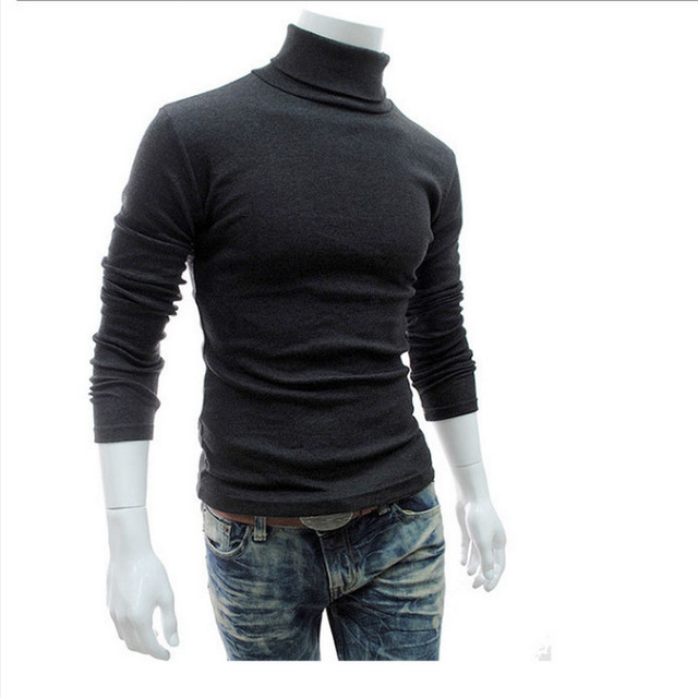 New Turtleneck Solid Color Casual Sweater Slim Fit Brand Knitted Pullovers 4