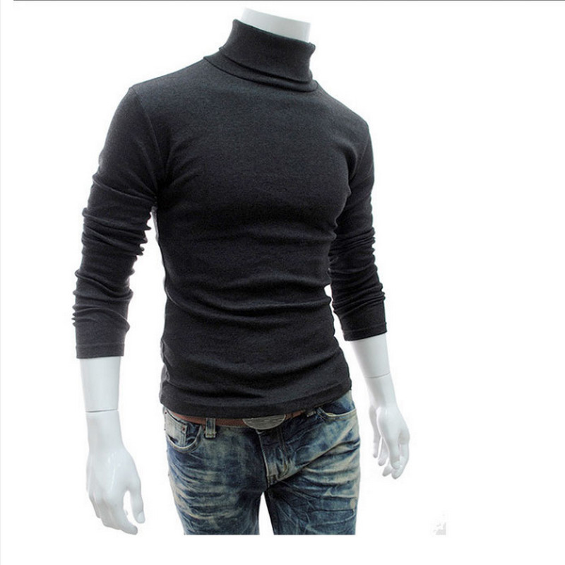 Autumn Winter Men's Turtleneck Sweater Slim Fit 5