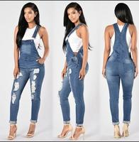 QMGOOD Fashion Denim Women's Overalls High Waist Ripped Jeans Woman Jumpsuits Stretch Denim Pants Female Torn Jumper Trousers