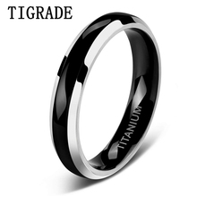 TIGRADE 4mm Thin Black Titianium Ring With High Polish Edge Wedding Band Engagement Rings For Women anillos mujer