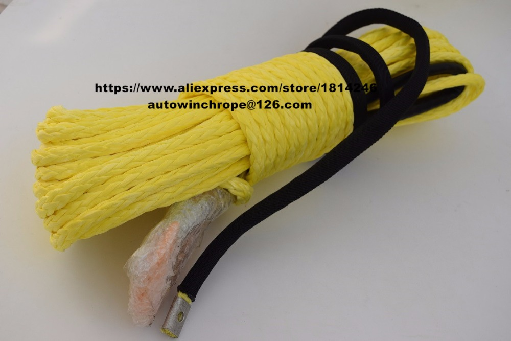 Yellow 3/8*100ft Synthetic Rope,Synthetic Winch Cable,3/8 Off Road Rope,Towing Rope,Winch Rope Extension
