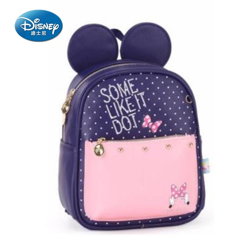 Disney 2018 New Minnie Girls Mummy Bag Cartoon Pattern Kid bag Fashion PU Leather Bakim Cantalari Backpack