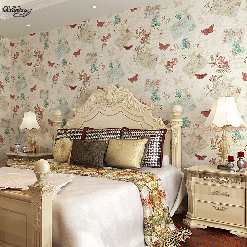 beibehang decals no harm cloth background personality butterfly flowers retro warm bedroom full of wallpaper green authentic