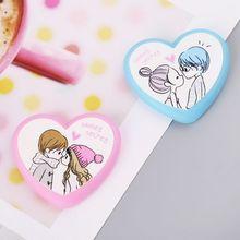 Отличный милый каваи сердце Форма резиновый Ластики для стирающиеся Ручки Детский подарок канцелярские принадлежности