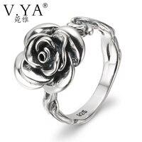 V YA Retro Black Thai Silver Rose Flower Rings For Women 100 925 Sterling Silver Finger