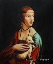 Animal paintings Leonardo Da Vinci's reproduction Lady with an ermine hand painted High quality