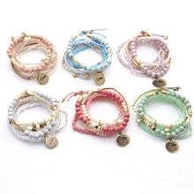 2019 new ladies beach jewelry bohemian bracelet multi-layer beads bracelet bracelet jewelry gift to ladies girls bracelet
