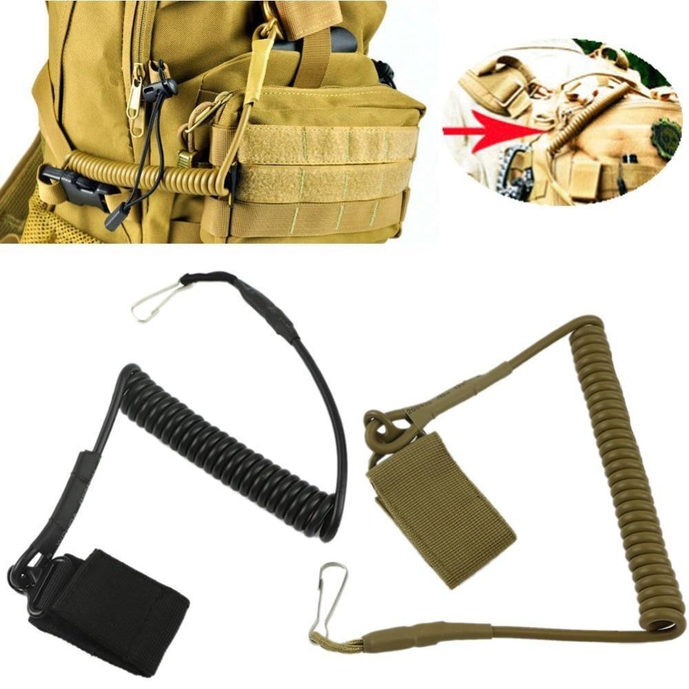Coil Sling Rope Lanyard Molle Elastic Hunt Pistol Tool Belt Backpack Airsoft Gun Handgun Shooting Military Bag Spring Strap