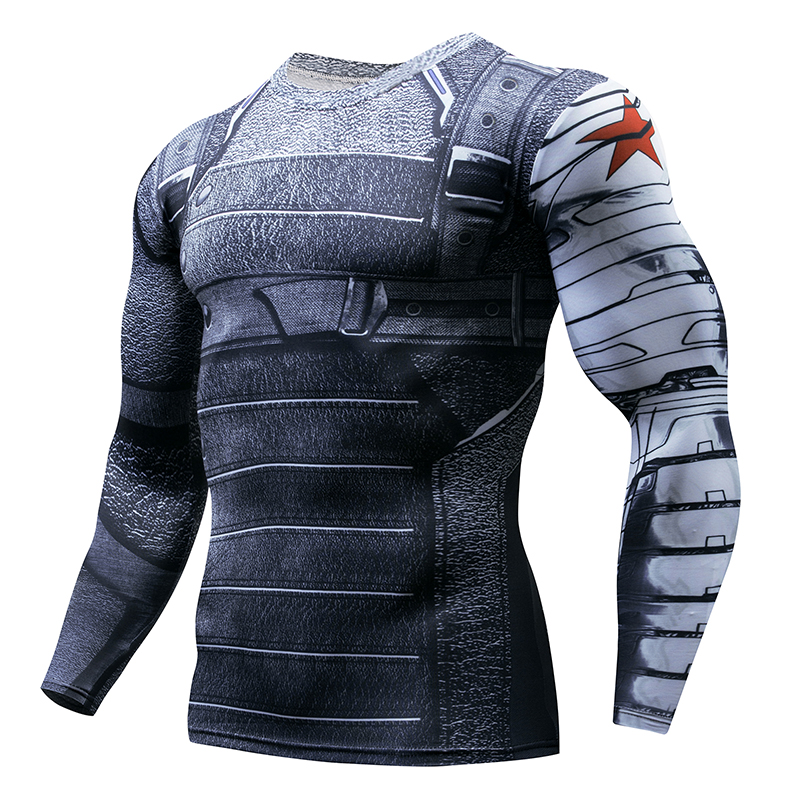 Promotional Spider Fitness Compression Soldier Shirt Men's Anime Bodybuilding Long Sleeve Crossfit 3D Superman Punish TShirt Top