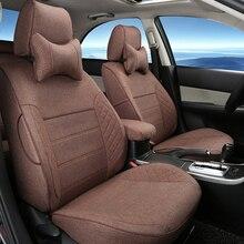 Льняная Ткань Крышка Места для Toyota Land Cruiser Prado Автомобиля Сиденья Набор Авто Подушки Сиденья Охватывает Защиту Черный Автомобиль подголовник