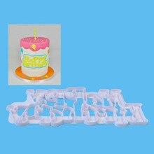 Happy Birthday Letter form Plastic mold chocolate fondant cake decoration Tools цена