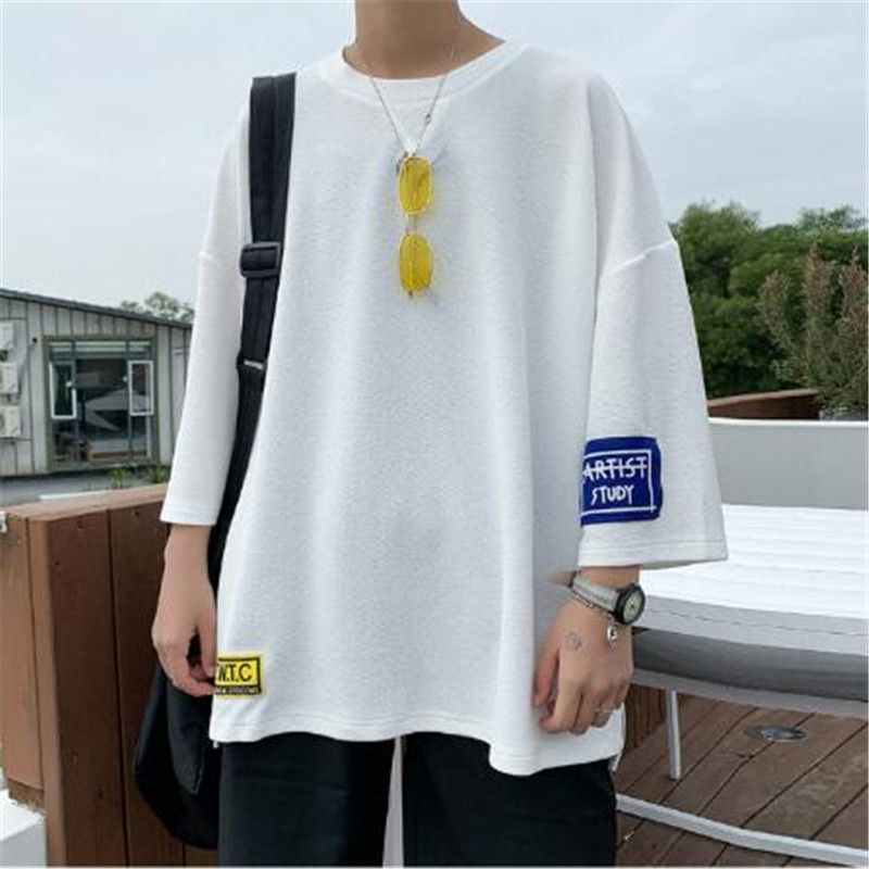 2019 summer men's trend new seven-point sleeve large size short-sleeved T-shirt loose short-sleeved T-shirt Fashion sportswear