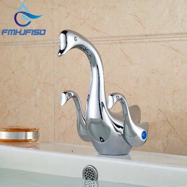 Chrome Brass Bathroom Animal Swan Faucet Dual Little Swan Handles Vanity  Sink Mixer Tap