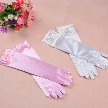Thin Elastic Children's Day Professional Dance Gloves Long Lace Bow Tie Accessories Gloves Girls Princess Gloves Kids Gift G195