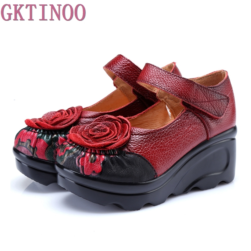 Pompes Haute Confortable forme 2018 Femmes Vintage Automne Main Rond En Cales rouge Noir Chaussures De Talons Véritable Cuir Bout Plate Printemps IaZqwddxU