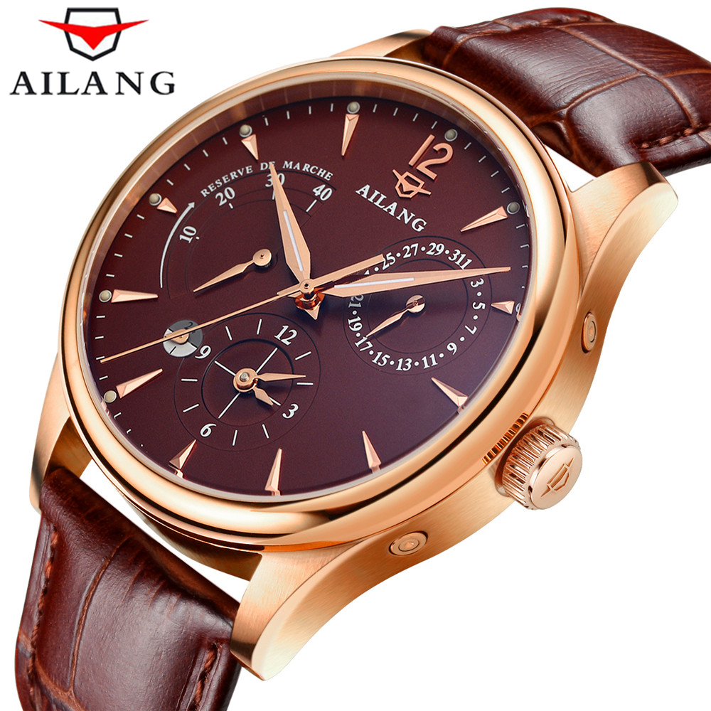 2017 Luxury Brand AILANG Automatic Watch man Waterproof Fashion Casual Watches Men Calendar Leather Gold Clock relogio masculino
