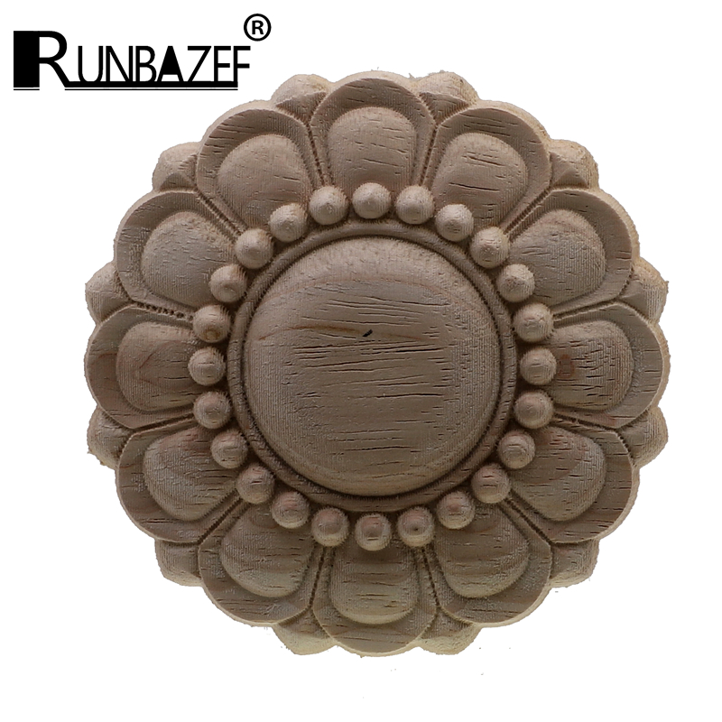 Round European Style Vintage Unpainted Wood Carved Corner Onlay Applique Frame For Home Furniture Wall Cabinet Door Decor Crafts