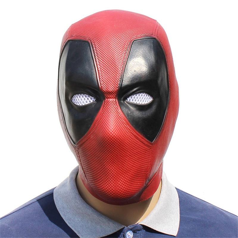 Handmade Movie Deadpool Cosplay Mask Red Latex Full Head Face Helmet Deadpool Cosplay Costume Props Halloween Mask Adult