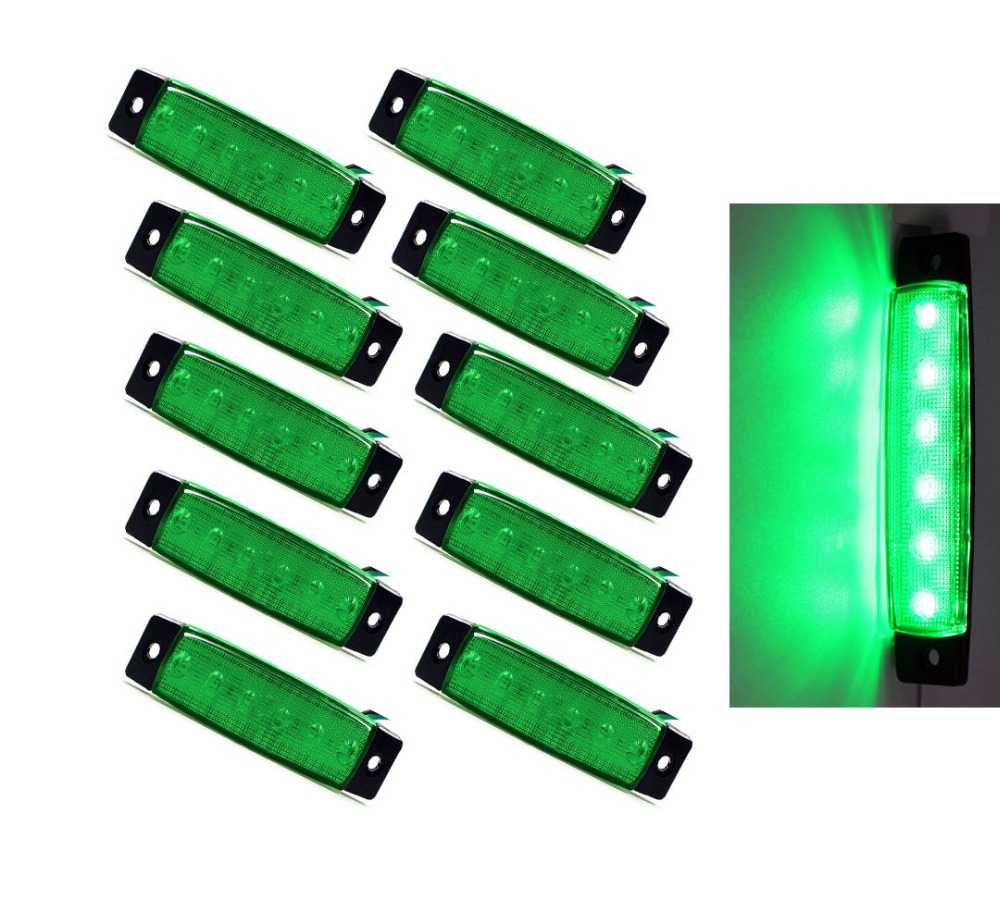 10PCS Lot Green White Amber Red Blue 3 8 6LED Side Marker Indicators Light Truck Trailer