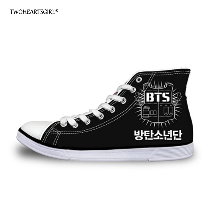 Twoheartsgirl Cool Menns High Top Canvas Shoes Trend Kpop BTS - Herresko