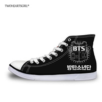 Twoheartsgirl Cool Men S High Top Canvas Shoes Trend Kpop BTS Vulcanize Shoes Classic Lace Up