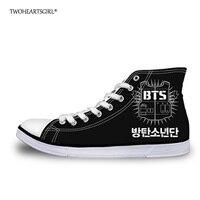 Twoheartsgirl Cool Men S High Top Canvas Shoes Trend Kpop BTS Vulcanize Shoes Classic Lace Up