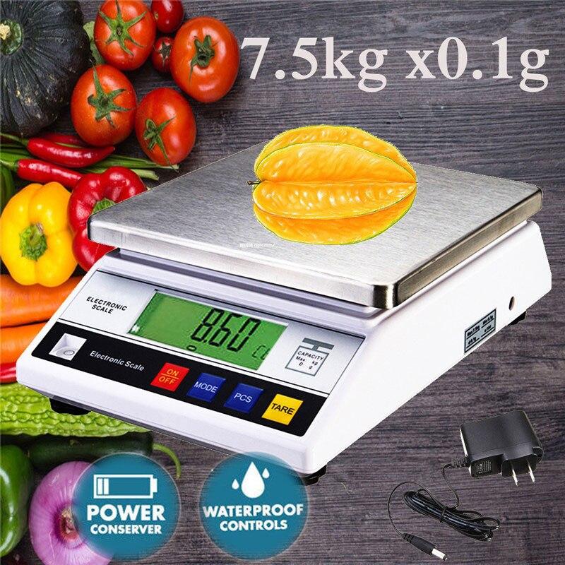7500g x 0.1g Mini Balance de bijoux de précision numérique Balance électronique alimentaire Balance de cuisine poches Balance de poids
