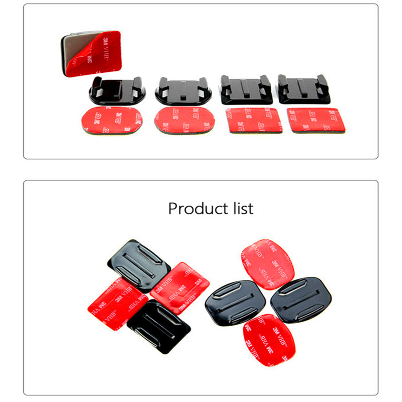Adhesive Mounts For GoPro 8 7 6 5 4  Curved Flat Mounts 3M Sticky Pads for Go Pro Xiaomi Yi SJCAM Action Camera Helmet Board Car 2