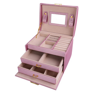 Image 4 - U7 Women Jewelry Storage Organizer Drawers Box Travel Makeup Cosmetic Case & Mirror Leather Wedding Decoration Gift For Her OB05