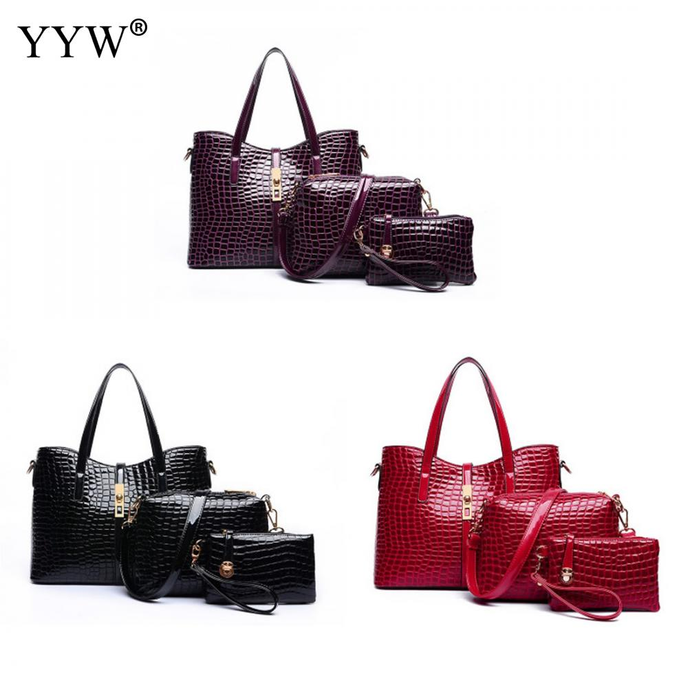 3 PCS/Set Black PU Leather Handbags Women Bag Set Famous Brands Tote Bag Fashion Lady Shoulder Crossbody Bags Evening Clutch Bag