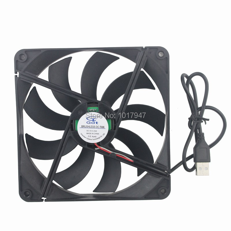 1Pieces Gdstime DC 5V USB 14025 14cm 140mm x 25mm Computer PC Case Cooler Cooling Fan gdstime 1 piece dc 12v 2 pin 140x140mm 14025 cpu computer case cooling fan 140mm x 25mm 14cm pc cooler 5 5 inch