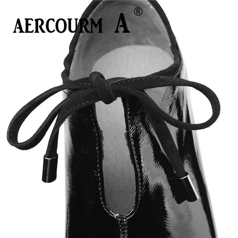 Aercourm A 2019 femmes chaussures à lacets peau brillante dame chaussures en cuir verni carré talon haut pompes nouveau printemps noir vin-rouge chaussures - 4