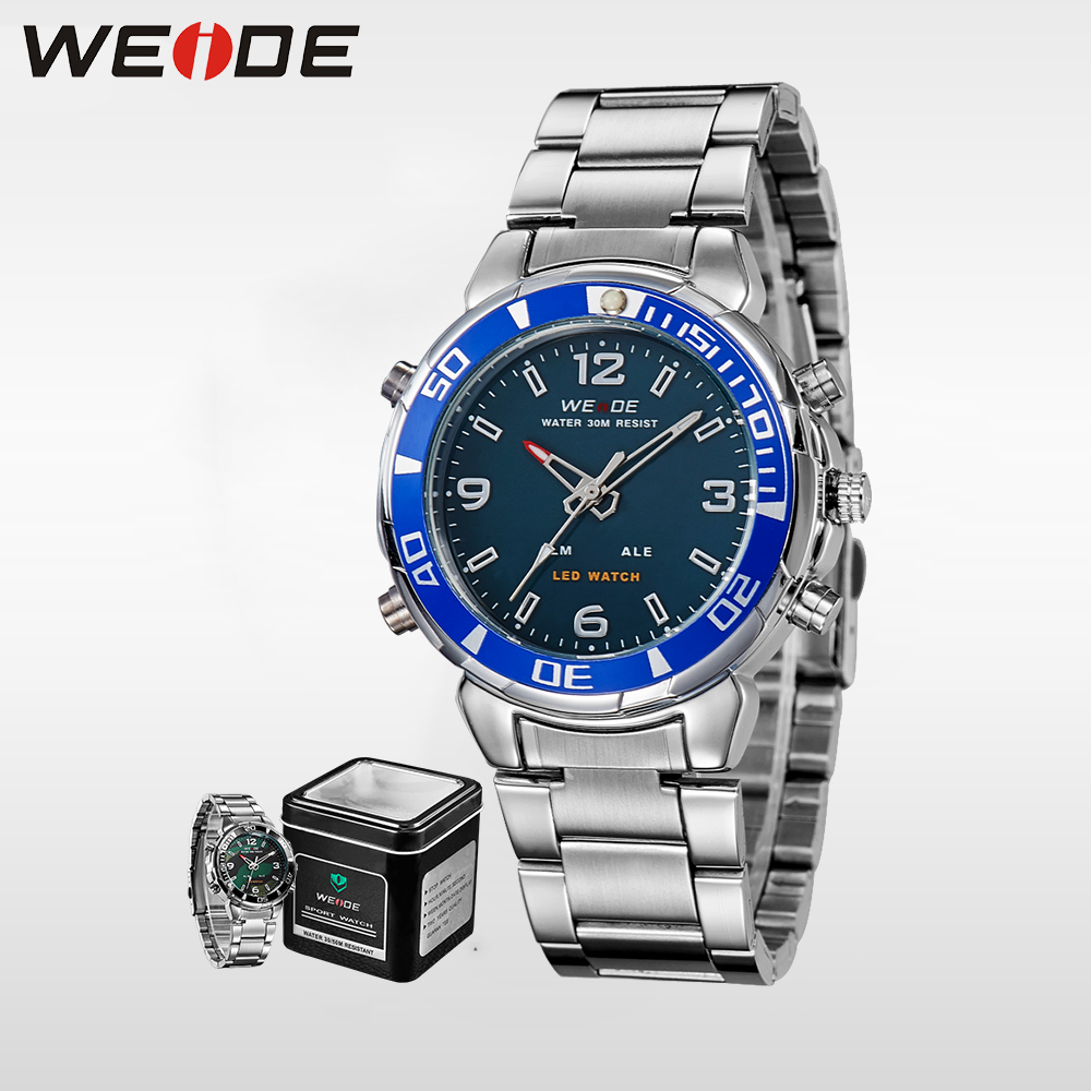 WEIDE quartz sports wrist watch men casual genuine stainless steel digital led relogios watches sport analog automatic self wind in Quartz Watches from Watches